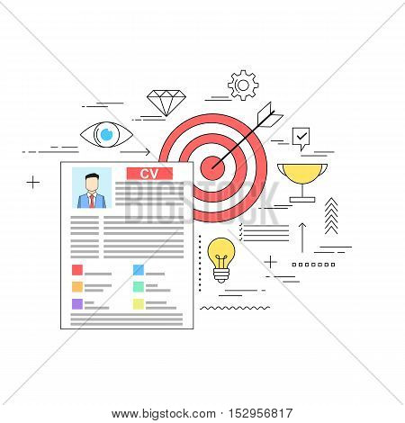 Target oriented successful CV writing concept illustration