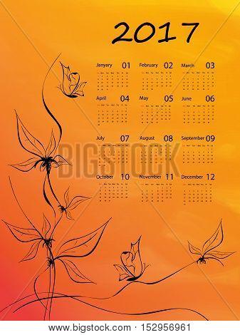 floral hand drawn calendar 2017. Elements for your design. Eps10