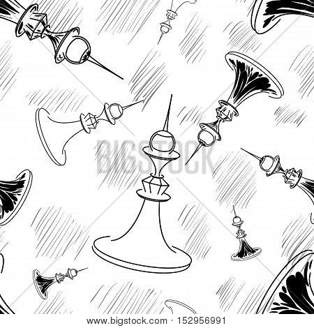 Hand drawn vector chess seamless background. Illustration and elements for your design. Eps10
