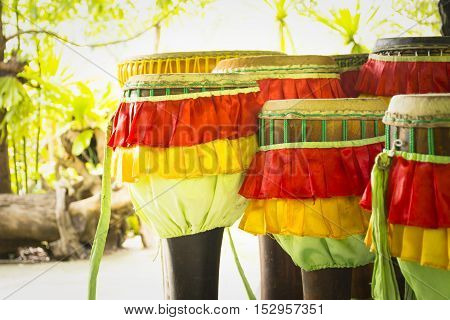 Long drum thailand,Instrument is a symbol of Thailand,Zoom in