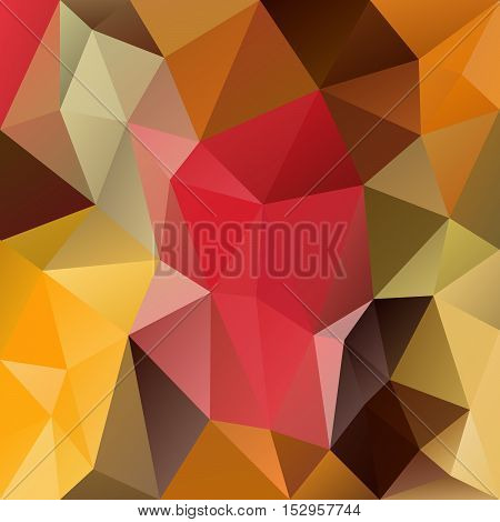 vector abstract irregular polygon background with a triangular pattern in autumn colors - brown red yellow green
