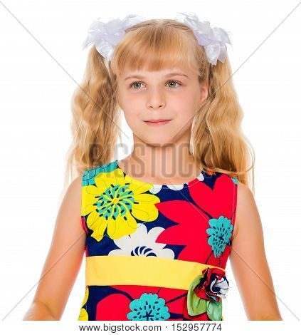 Sweet, adorable little girl with long blonde ponytails on her head tied with white bows. Close-up-Isolated on white background