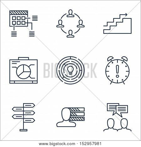 Set Of Project Management Icons On Personal Skills, Growth And Time Management Topics. Editable Vect