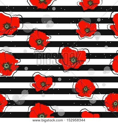 Seamless pattern with white daisies on striped background. Vector illustration.