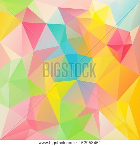 vector abstract irregular polygon background with a triangular pattern in spring vibrant pastel colors - full spectrum