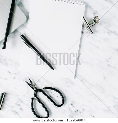 Marble background workspace. Flat lay top view office table