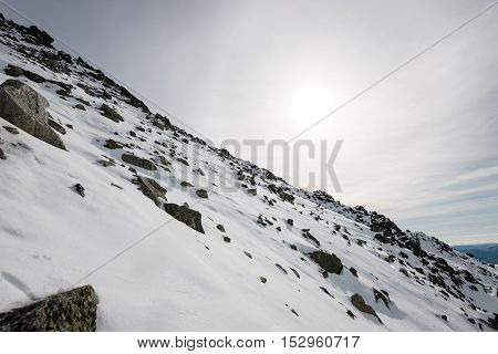 Mountain Tops In Winter Covered In Snow