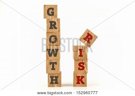 Growth and Risk word written on cube shape wooden surface isolated on white background.