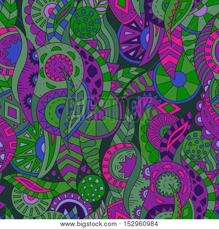 Abstract Background with Shapes, Leaves and Circles. Seamless Pattern, Vector Ornament for Fabric.