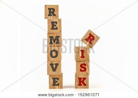 Remove Risk word written on cube shape wooden surface isolated on white background.