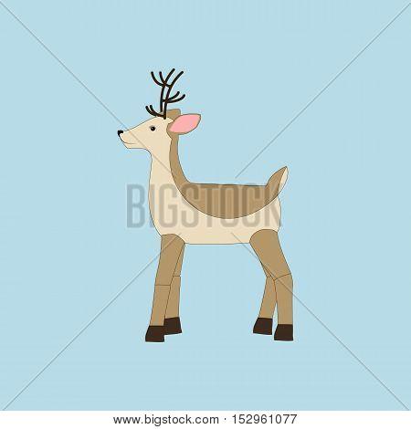 Deer illustration on the blue background. Vector illustration