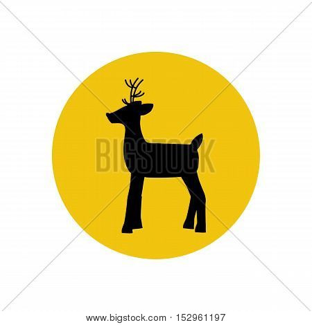 Deer silhouette on the yellow background. Vector illustration