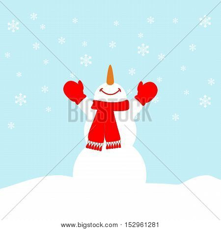 Happy snowman on the blue background with snowflakes. Vector illustration