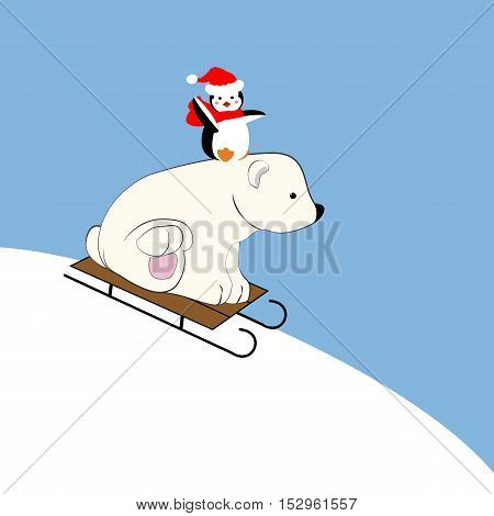 Polar bear and penguin on the sleigh illustration on the blue background. Vector illustration