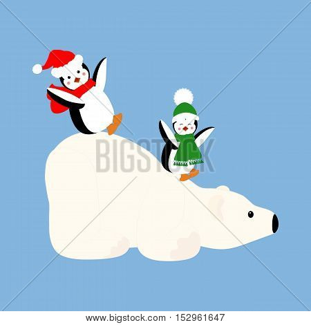 Polar bear and penguins illustration on the blue background. Vector illustration