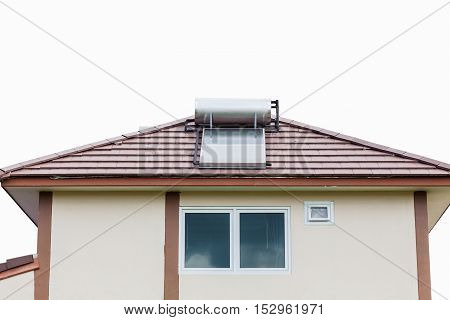 Solar panel for hot water system on roof on white background