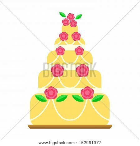 Pie for birthday isolated cake vector. Wedding or birthday cake sweet dessert homemade pie. Cream brownie cake topped pie isolated on white