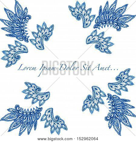 Beautiful vector ornate template for greeting or save the date card, hand drawn ethnic decorative pattern.