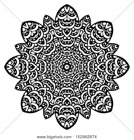 Mandala. Floral ethnic abstract decorative elements. Hand drawn background. Islam, arabic, indian, zentangle, tribal, african, ottoman motifs. Sketch for coloring book,tattoo, poster, card or t-shirt.