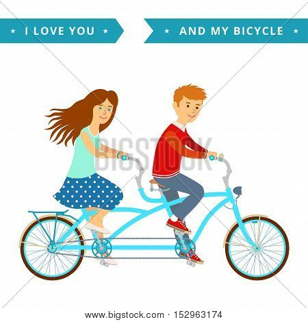 Romantic vector concept illustration on couple going outdoors riding bicycle.