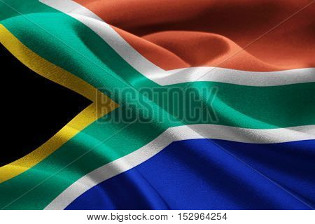 Image of national flag of South Africa waving in the wind