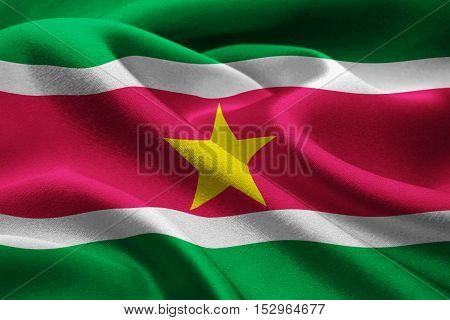 Close up of the national flag of Suriname waving in the wind