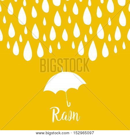 Rain card with raindrops and umbrella. Vector background.