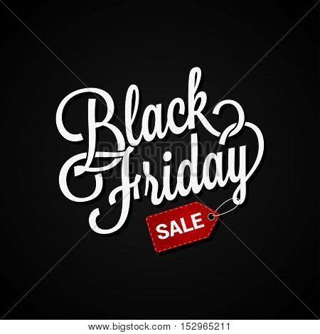 Black Friday sign with sale tag on dark background 10 eps