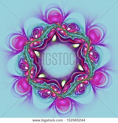 Abstract violet flower on blue background. Fractal artwork for creative design.