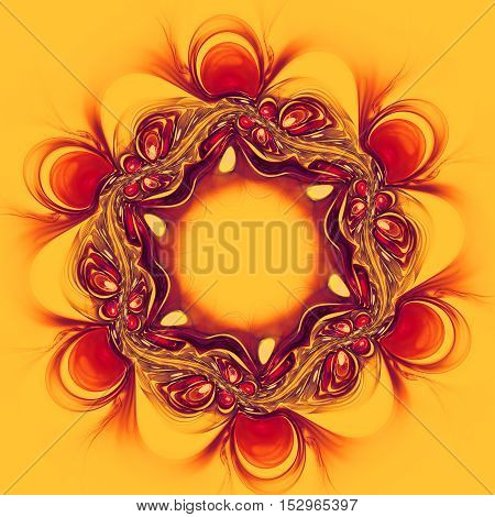 Abstract red flower on yellow background. Fractal artwork for creative design.