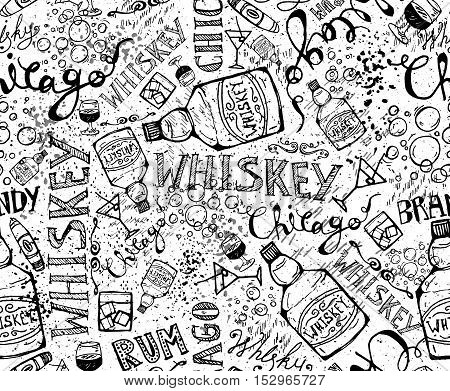 print, seamless pattern with a bottle of whiskey, glasses and inscriptions. Design elements. Vector illustration.