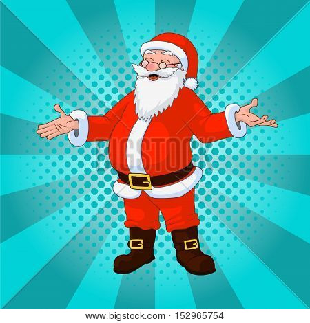 Vector illustration Santa Claus comic style design with jolly plump in red costume on turquoise background.