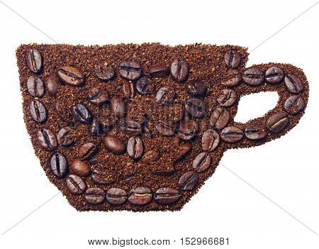 Ground coffee and coffee beans in the form of a cup of coffee isolated on white