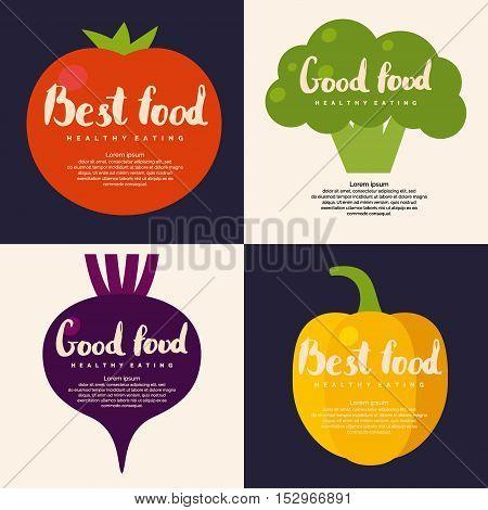 Organic food. Set fresh vegetables background for menu or poster.
