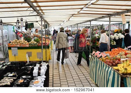 Saint Germain en Laye France - june 12 2016 : the picturesque market in summer