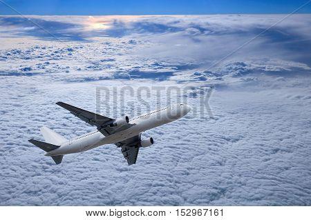 Airplane Above Sunset