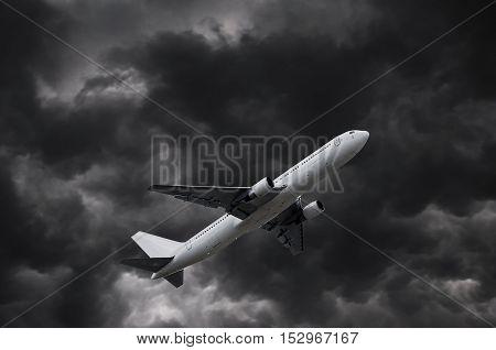 Airplane On Stormy Sky