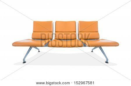Three seat of orange leather bench isolated on white background