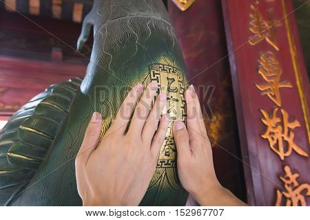 Hanoi Vietnam - September 20 2016: Two hands pat on breast of chicken doll made from bronze in temple of literature in Hanoi Vietnam to praying for lucky.