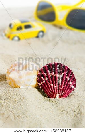 Shell on sand with yellow car in background. Holiday on beach composition