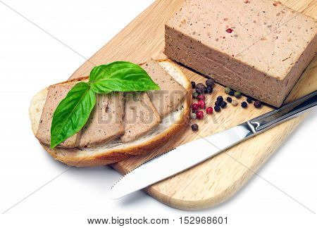 Fresh pate on bread on the cutting board