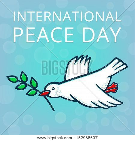 Peace dove with olive branch for International Peace Day.