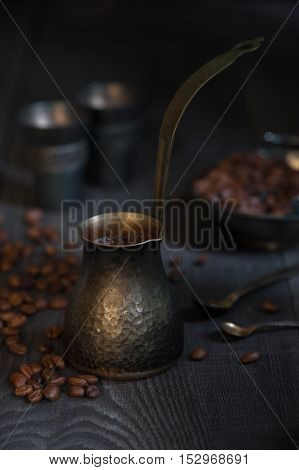 Turkish Coffee On The Old Wooden Table
