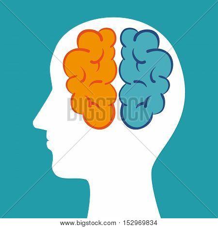 silhouette head brain mind icon vector illustration eps 10