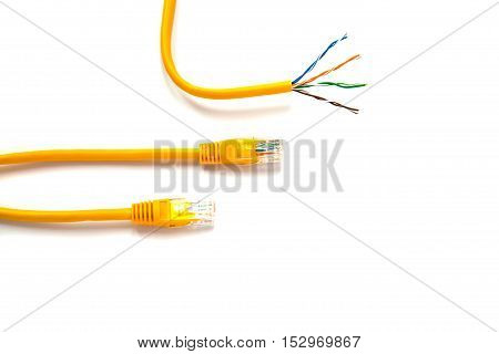 Yellow patch-cords with RJ45 for Lan network and yellow patch-cord with twisted pair.