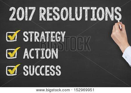 Human Hand Writing New Year Resolution Check List on Blackboard