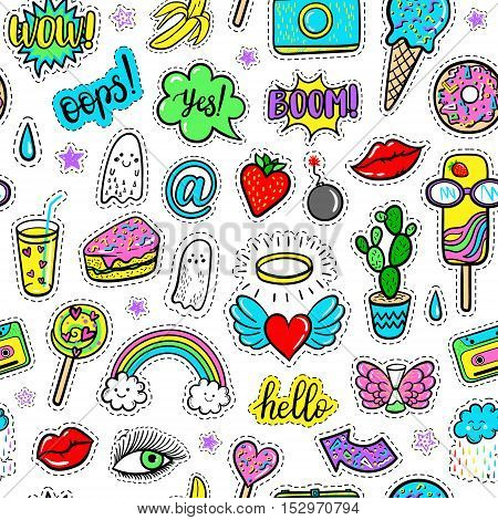 Vector hand drawn seamless pattern with fashion patches: eyes ice cream rainbow doughnut camera lip heart arrow banana ghost. Modern pop art stickers patches pins badges 80s-90s style