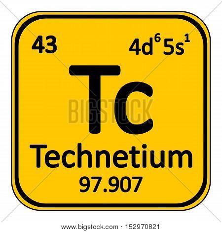 Periodic table element technetium icon on white background. Vector illustration.