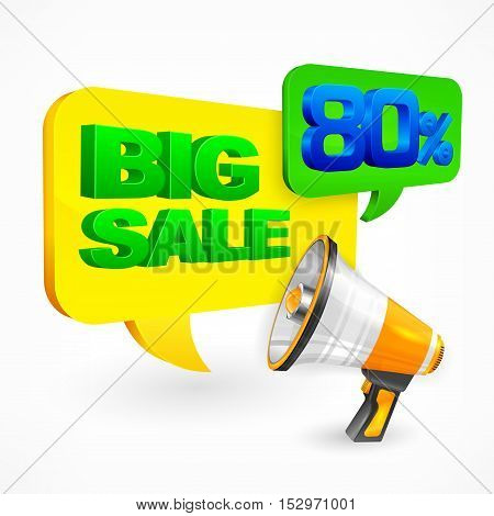 Big Sale Inscription & Megaphone