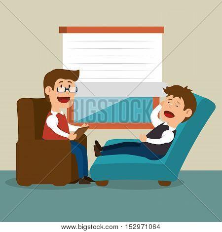 therapist session man problem mental vector illustration eps 10